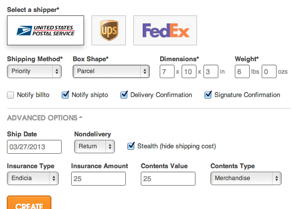 Advanced shipping options